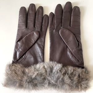 50's Vintage leather & fur cuff Fowness gloves 7.5